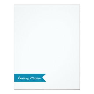 Custom Flat Notes Card Blue Banner | Eco-Friendly 11 Cm X 14 Cm Invitation Card
