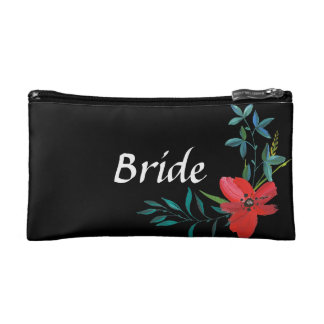 Custom Floral Bride Cosmetic Bag