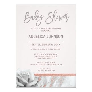 Custom Floral Dusty Pink Rose Gold Baby Shower Card