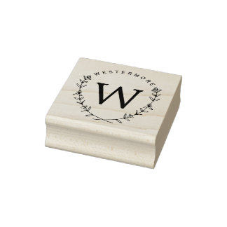 Custom Floral Laurel Monogram Rubber Address Stamp