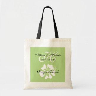 Custom floral logo destination wedding tote bag