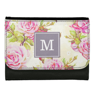 Custom Floral Pattern Old Rose Monogram Wallet