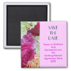 Custom Floral Pink Flowers Save The Date Wedding Magnet