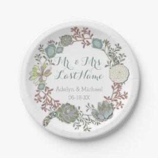 Custom Floral Succulent Wedding Paper Plates