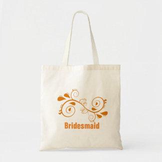 Custom Floral Swirl Bridesmaid Wedding Tote Bag