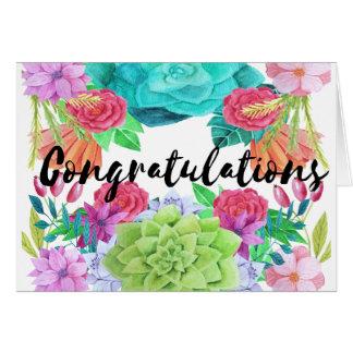 Custom floral watercolour congratulations card