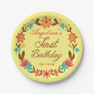 Custom Floral Wreath 1st Birthday Paper Plate