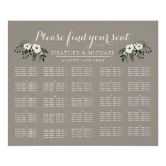 Custom Floral Wreath - Alphabetical Seating Chart