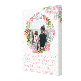 Custom floral wreath photo monogram canvas print