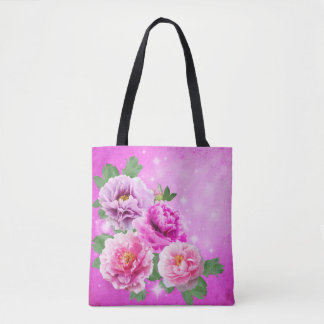 Custom flowers pink peonies sunlight with sparkles tote bag