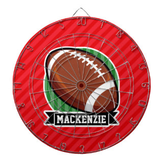 Custom Football on Red Diagonal Stripes Dart Boards