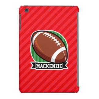 Custom Football on Red Diagonal Stripes iPad Mini Retina Covers