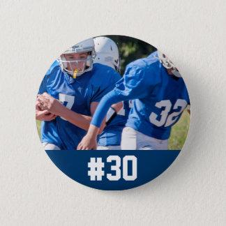 Custom Football Player Photo Number 6 Cm Round Badge