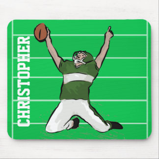 Custom Football Player Touchdown Green and White Mouse Pad