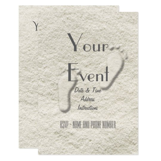 Custom footprint/footprints on sandy beach design 9 cm x 13 cm invitation card