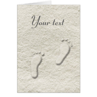 Custom footprint/footprints on sandy beach design card
