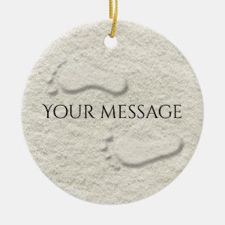 Custom footprint/footprints on sandy beach design ceramic ornament
