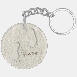 Custom footprint/footprints on sandy beach design Double-Sided round acrylic key ring