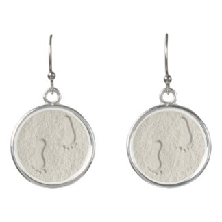 Custom footprint/footprints on sandy beach design earrings