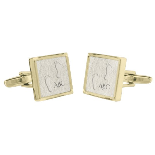 Custom footprint/footprints on sandy beach design gold finish cufflinks