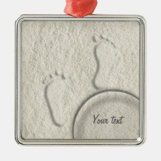 Custom footprint/footprints on sandy beach design metal ornament