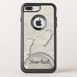 Custom footprint/footprints on sandy beach design OtterBox commuter iPhone 7 plus case