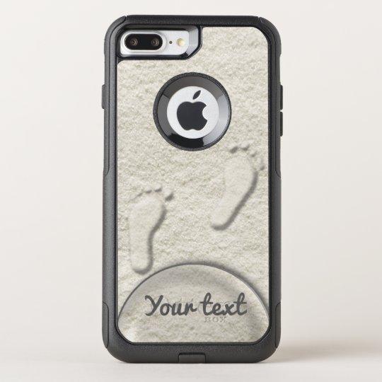 Custom footprint/footprints on sandy beach design OtterBox commuter iPhone 8 plus/7 plus case