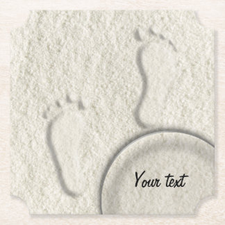 Custom footprint/footprints on sandy beach design paper coaster