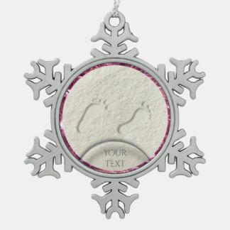 Custom footprint/footprints on sandy beach design snowflake pewter christmas ornament