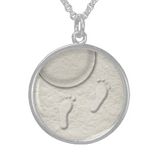Custom footprint/footprints on sandy beach design sterling silver necklace