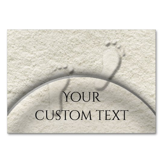 Custom footprint/footprints on sandy beach design table cards