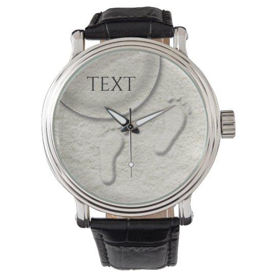 Custom footprint/footprints on sandy beach design wrist watch