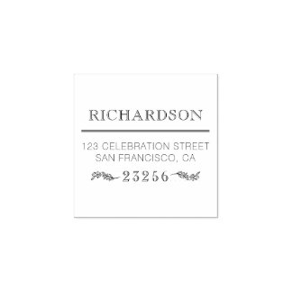Custom Formal Family Name Botanical Return Address Rubber Stamp