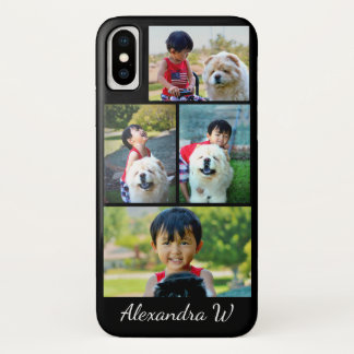 Custom Four Photo Collage Personalized Name iPhone X Case