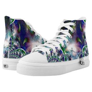 custom fractal high tops printed shoes