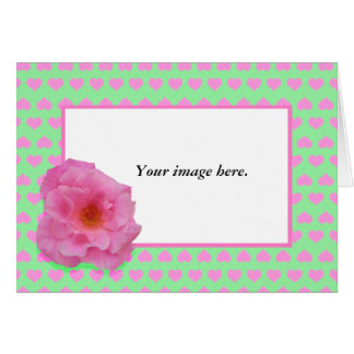 Custom frame, pink Camellia and Love Hearts. Greeting Card