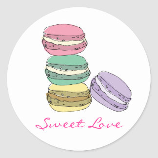 Custom french macaron stickers. classic round sticker