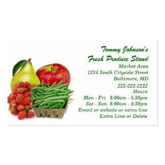 Custom Fresh Produce Market Vegetable Fruit Stand Pack Of Standard Business Cards