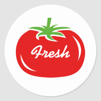 Custom fresh red tomato round stickers and sealers