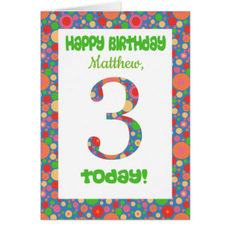 Custom Front 3rd Birthday Card Bright and Bubbly