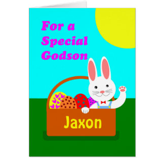 Custom Front Easter for Godson, Cute Bunny Card