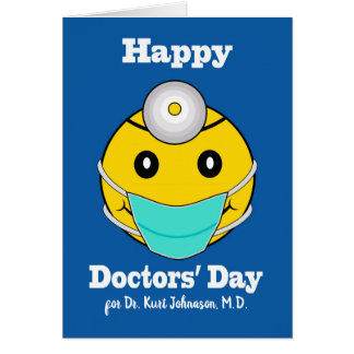 Custom Front Happy Doctors' Day, Happy Face Doctor Card