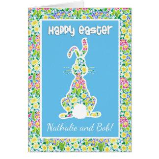 Custom Front Primroses Cute Bunny Rabbit Easter Card