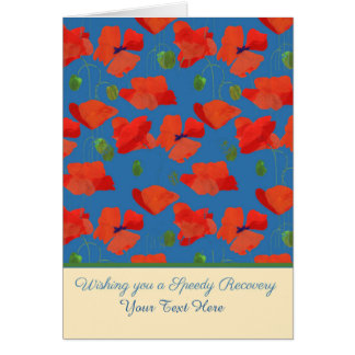Custom Front Red Field Poppies Get Well Card