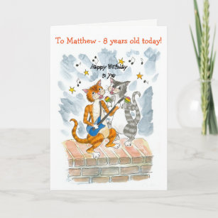 Custom Front Singing Cats 13th Fun Birthday Card