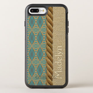 Custom Fun Ethnic Turquoise Brown Mosaic Pattern OtterBox Symmetry iPhone 8 Plus/7 Plus Case