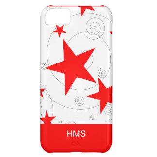 Custom Fun Swirls and Bright Red Stars Monogram iPhone 5C Case