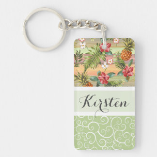 Custom Fun Tropical Pineapple Fruit Floral Pattern Double-Sided Rectangular Acrylic Key Ring