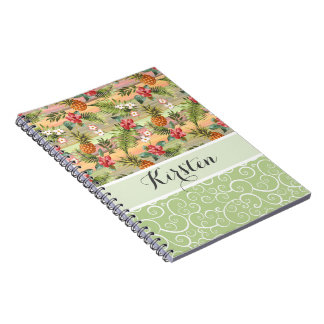 Custom Fun Tropical Pineapple Fruit Floral Pattern Notebook