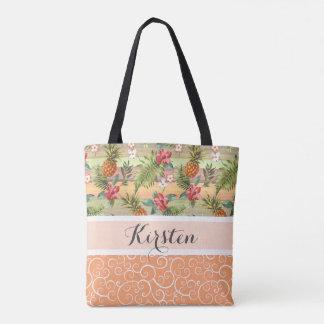 Custom Fun Tropical Pineapple Fruit Floral Pattern Tote Bag